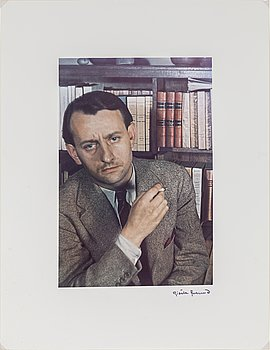 GISÈLE FREUND, photograph signed and stamped, portrait of André Malraux.