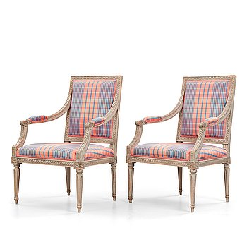 6. A pair of Gustavian armchairs, by Jakob Malmsten (master in Stockholm 1780-88).
