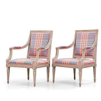 7. Two matched Gustavian armchairs, by Jakob Malmsten (master in Stockholm 1780-88).