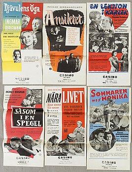 A SET OF 6 POSTERS, 1950's, Ingmar Bergman.