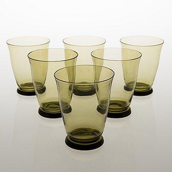 ELMAR GRANLUND, Six 'E.G.' drinking glasses for Riihimäki Lasi. Designed 1928.