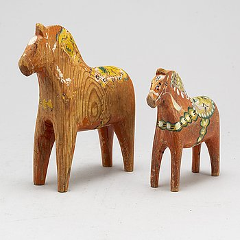 Two wooden horses. First half of the 20th century.