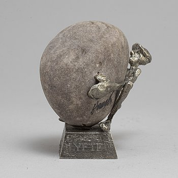 HENRY GUSTAFSSON, 'Lyftet', a pewter and stone sculpture, Wimmerby Tenn.