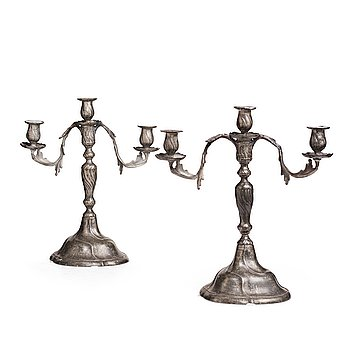 111. A pair of Swedish Rococo pewter three-light candelabra by Anders Wetterquist, Stockholm 1774.