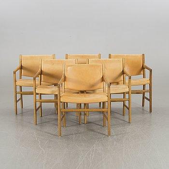HANS J WEGNER, a set of six oak armchairs.