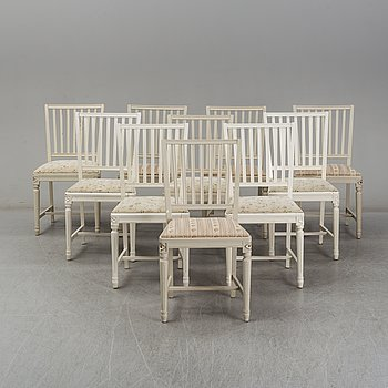 Ten Gustavian style chairs from the second half of the 20th Century.