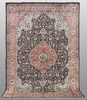 A CARPET, silk Qum, around 300 x 203 cm.