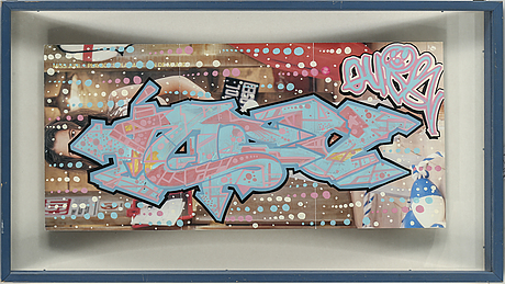 Quik, mixed media on paper, signed and dated 1997 on verso.
