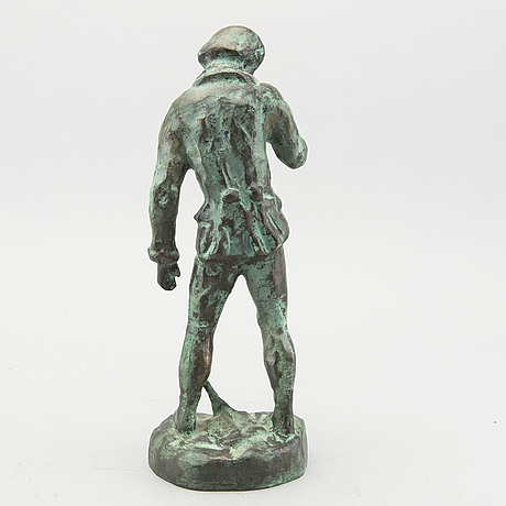 "Carl eldh, bronze, ""carl von linné"" signed"