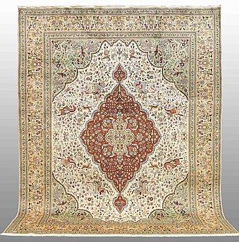 "A carpet, Figural Täbriz , so called, ""Tabatabai"" 373 x 282 cm."