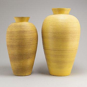 GRETA RUNEBORG, two stoneware vases, Upsala-Ekeby, mid 20th century.