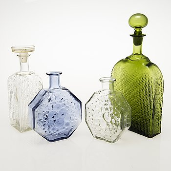NANNY STILL Two Decanters and Two Decorative Bottles, Riihimäen Lasi Oy, 1960s.