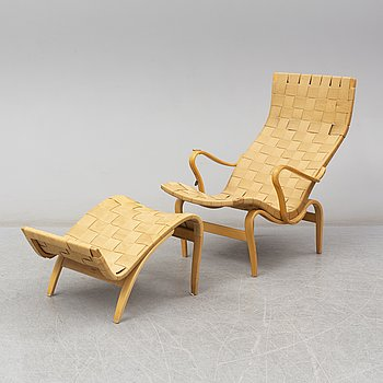 BRUNO MATHSSON, an 'Eva' easy chair and foot stol, AB Karl Mathsson, Värnamo,1968.