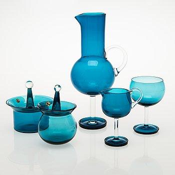 NANNY STILL 5-piece Harlekiini glassware set, Riihimäen Lasi Oy, 1959-69.