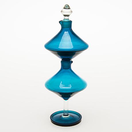 """Nanny still, """"harlekiini"""" etikka- ja öljykarahvi, malli 1740, riihimäen lasi oy 1960-luku."""