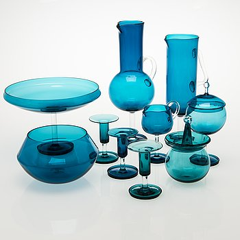 NANNY STILL 10-piece Harlekiini glassware set, Riihimäen Lasi Oy, 1959-69.