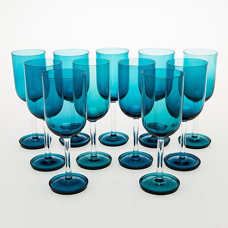 Nanny still a set of 11 harlekiini wine glasses by riihimäen lasi oy, 1950-60s.