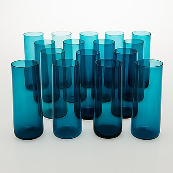 NANNY STILL A Set of 16 Harlekiini Glasses by Riihimäen lasi Oy, 1950-60s.