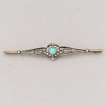 BROSCH, turkos, åttkant- och rosenslipade diamanter 14K (56) guld. St Petersburg 1908-17.