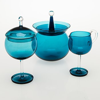 NANNY STILL Harlekiini Candy Bowl, Sugar Bowl and a Ceamer, Riihimäen Lasi Oy, 1959-69.