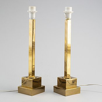 A 1960/70's pair of 'B44' brass table lamps from Bergboms.