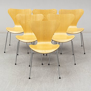 ARNE JACOBSEN, A set of six 'Sjuan' chairs by Arne Jacobsen for Fritz Hansen, Denmark, 1994.