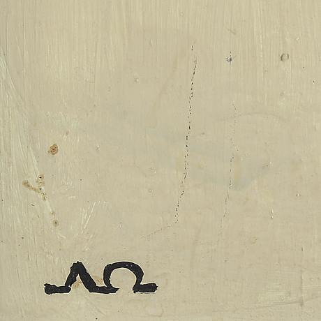 Arne Ödberg, oil on panel, signed with monogram. dated  54 verso