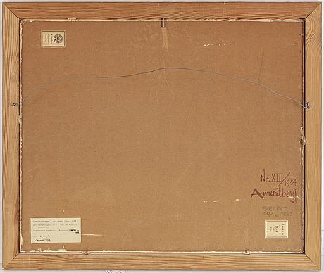 Arne Ödberg, olja på pannå, signerad med monogram. daterad  54 a tergo