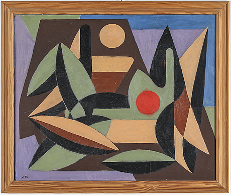 Arne ödberg, oil on panel, signed with monogram. 1954.