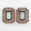 Fabergé double clip brooches, workmaster albert holmström, set with aquamarines and rose-cut diamonds.