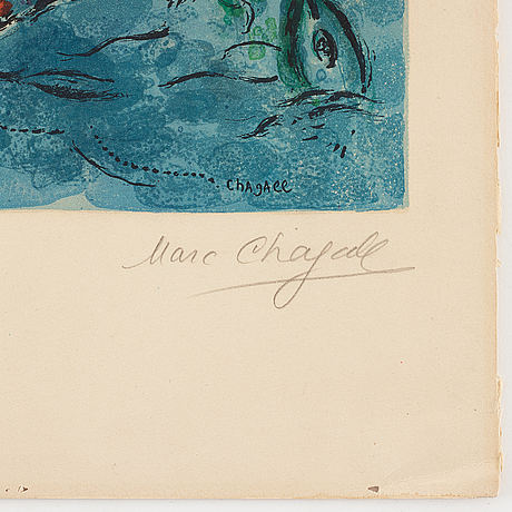 Marc chagall, litograph in colour, 1964, charles sorlier after marc chagall,  signed and numbered xviii/lxxv.