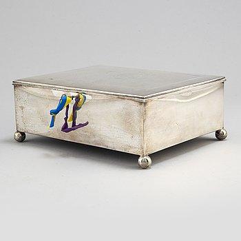 A silver box with engraved cross by Svedboms Vetlanda 1937.