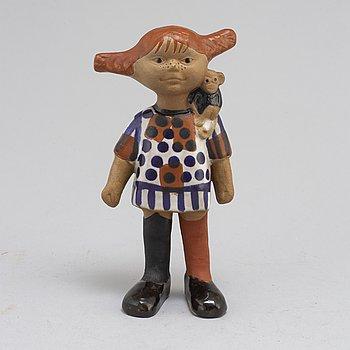 "A LISA LARSON glazed stoneware figurine ""Pippi Longstocking"", Gustavsberg, Sweden."