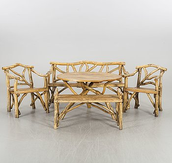 A SET OF GARDEN FURNITURE, 5 pieces, 20th century.