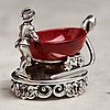 A fabergé purpurin and silver salt-cellar, workmaster erik kollin, st. petersburg before 1896. scratched inventory no.