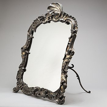 A Swedish mid 19th century silver large table mirror, mark of Gustaf Möllenborg 1850.