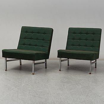 KARL ERIK EKSELIUS, fåtöljer, två stycken, JOC möbler Vetlanda 1960-tal.