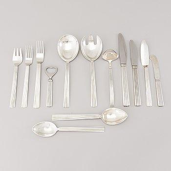 A 106 PIECE SILVER 'Bernadotte' cutlery set for George Jensen Denmark 1945-1977.