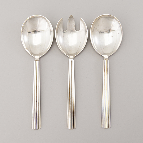 A 106 piece silver 'bernadotte' cutlery set for george jensen denmark 1945 1977