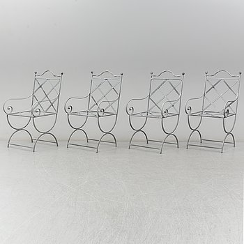 Four steel garden chairs, late 20th Century.