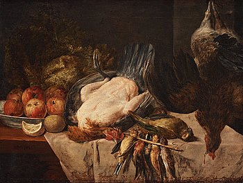 502. Philips Gysels Attributed to, Still life with birds and fruits.