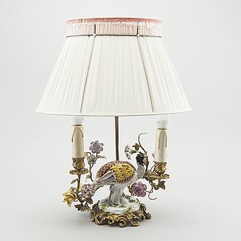 A Meissen porcelain figurine mounted as lamp.