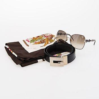 GUCCI Sunglasses, silk scarf and a belt.