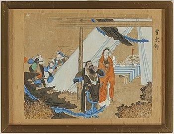 MÅLNINGAR, tre stycken, tusch och färg på papper. Qingdynastin samt Kina, sent 1800-1900-tal.
