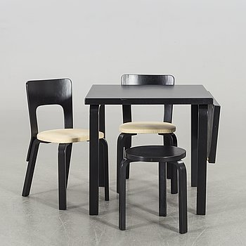 ALVAR AALTO, a pair of chairs, a table and a stool.