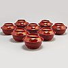 Eight lacquered bowls with covers, japan, 20th century.