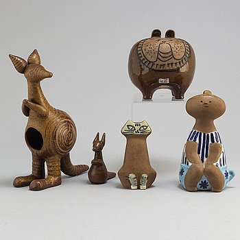 Four second half of the 20th century stoneware figurines by Lisa Larson, Gustavsberg.
