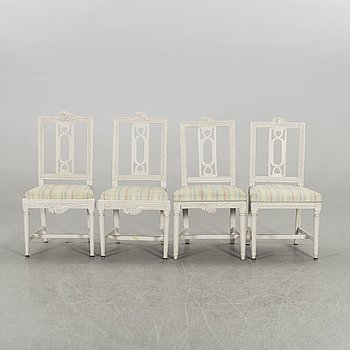 A set of 2 + 2 late Gustavian chairs.