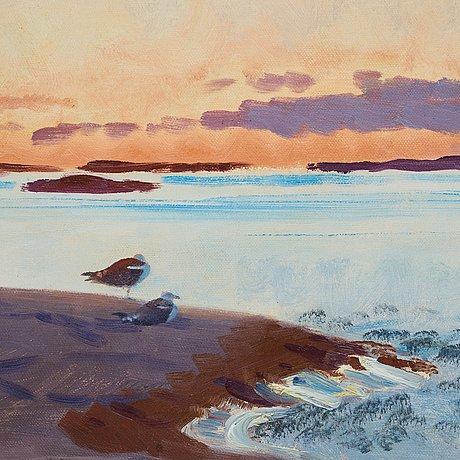 Bruno liljefors, coastal scene with seagulls