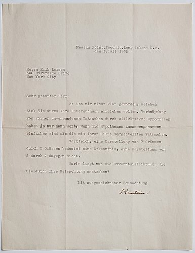 Albert einstein (1879-1955) two letters, signed 1938.